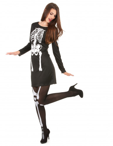 Skelett-Horror-Kostüm für Damen schwarz-weiss-1