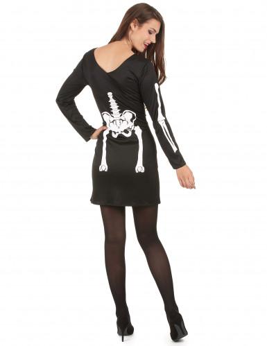 Skelett-Horror-Kostüm für Damen schwarz-weiss-2