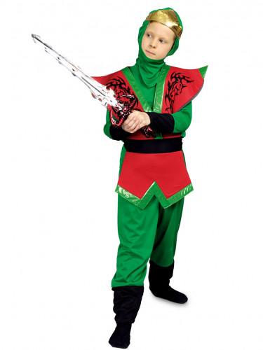 Grün-rotes Ninja-Kostüm für Kinder