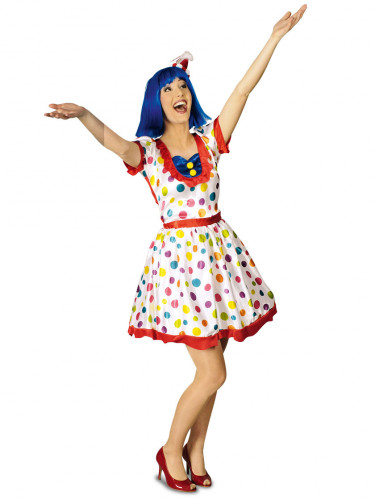 Bunt gepunktetes Clowns-Kostüm für Damen