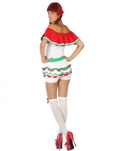 Mexikanerin Damenkostüm weiss-rot-grün-1