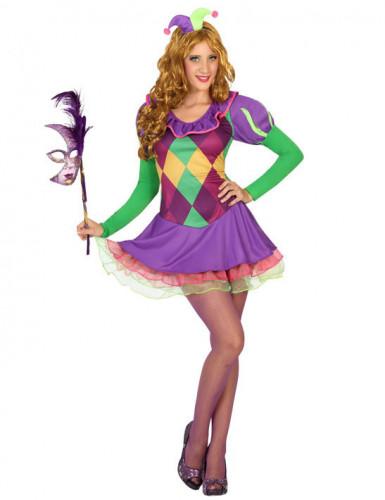 Harlekin-Kostüm für Damen violett