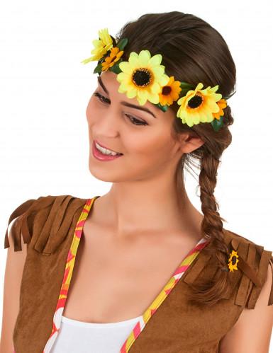 Hippie Blumen-Haarband für Damen Kostüm-Accessoire grün-gelb