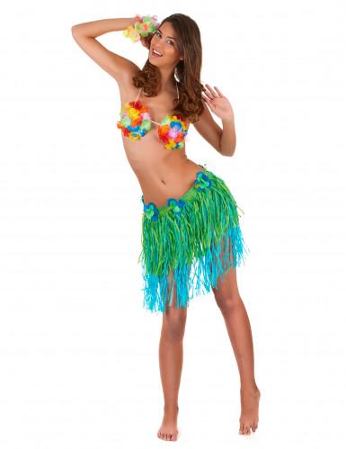 Hawaii Bastrock mit Blumen für Erwachsene grün-blau