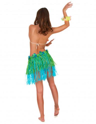 Hawaii Bastrock mit Blumen für Erwachsene grün-blau-2