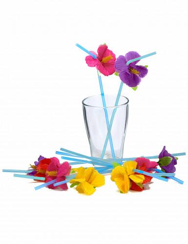 12 Hawaii - Strohhalme mit Blumen-1