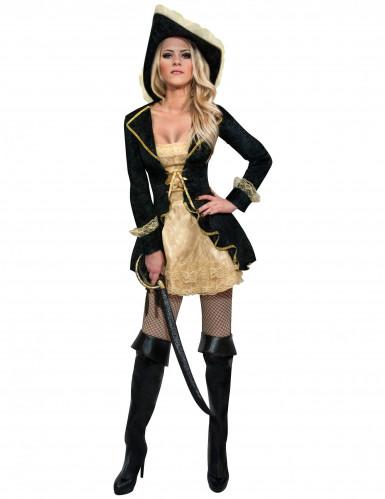 Barock Piratin Damenkostüm schwarz-gold