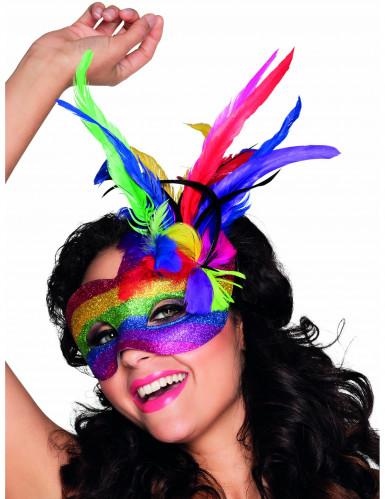 Bunte Augenmaske mit Federn für Erwachsene