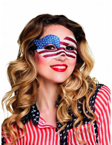Glitzernde Augenmaske USA-Flagge für Damen