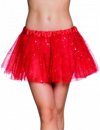 Tutu glitzernde Sterne für Damen rot-silber