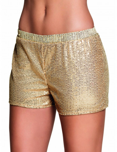 Pailletten-Shorts für Damen gold
