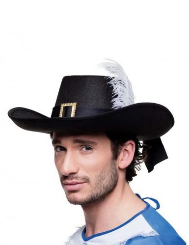 Musketier Hut für Erwachsene mit Feder schwarz-weiß
