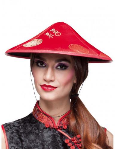 Chinesen Hut Asien für Erwachsene rot