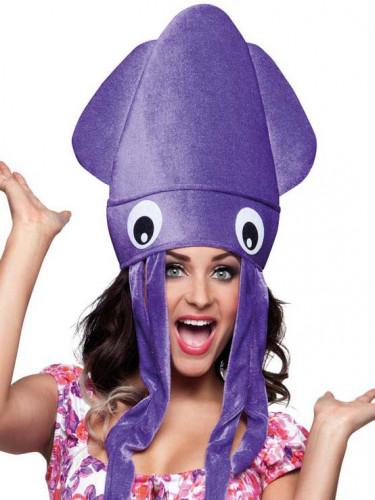 Lila Tintenfisch Mütze für Erwachsene