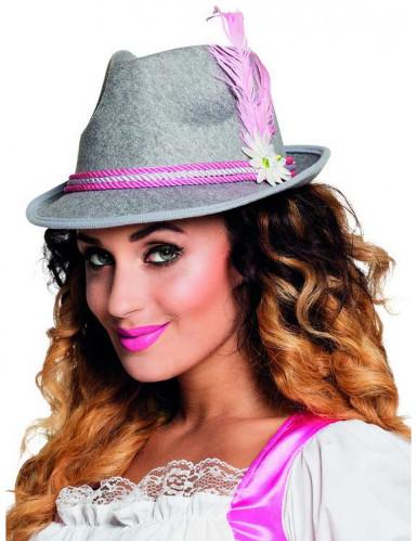 Süßer Bayern-Hut für Damen grau-rosa
