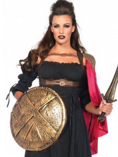 Kriegerin Geschirr mit Umhang für Damen rot