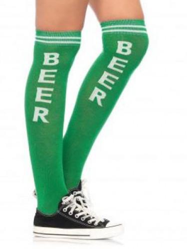 Lange Bier Party-Strümpfe grün-weiß