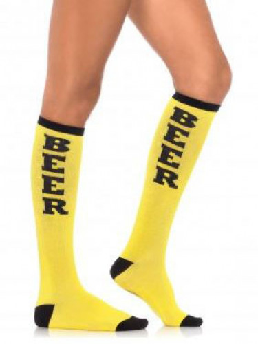 Bier Party-Strümpfe für Erwachsene gelb-schwarz