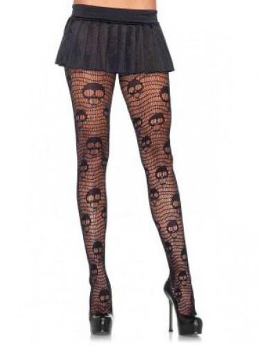 Totenkopf Netzstrumpfhose für Damen schwarz