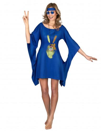 Hippiekostüm für Damen blau-goldfarben