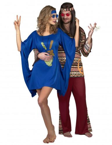 Hippiekostüm für Damen blau-goldfarben-3