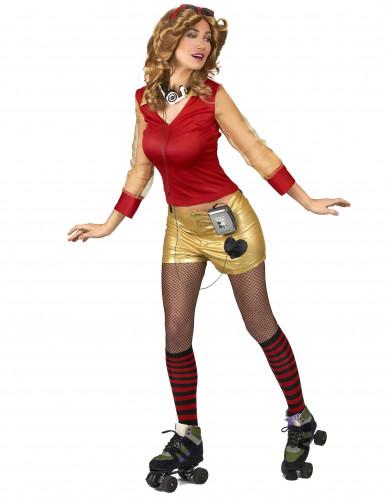 80er Jahre Kostüm rot-gold für Damen-1