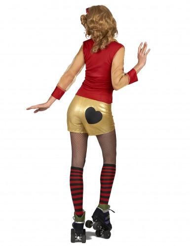 80er Jahre Kostüm rot-gold für Damen-2