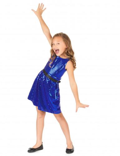 Kostüm blaues Pailletten Disco Kleid mit Schleife-1
