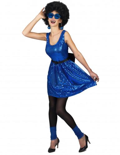 Schickes Disco-Kleid mit Pailletten und Schleife blau