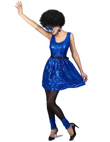 Schickes Disco-Kleid mit Pailletten und Schleife blau-1