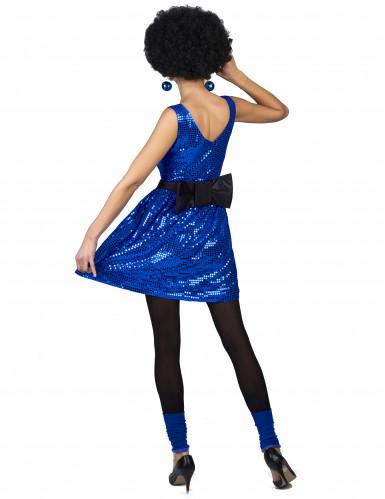 Schickes Disco-Kleid mit Pailletten und Schleife blau-2