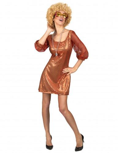 Sexy Disco-Kostüm Paillettenkleid für Damen orange