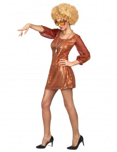 Sexy Disco-Kostüm Paillettenkleid für Damen orange-1