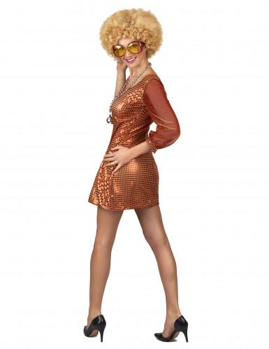 Sexy Disco-Kostüm Paillettenkleid für Damen orange-2