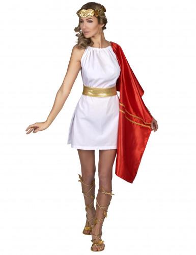 Römerin Kostüm für Damen rot-weiß-gold