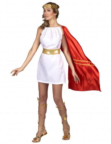 Römerin Kostüm für Damen rot-weiß-gold-1