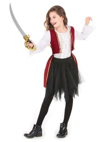 Piratenkostüm mit Tüllrock für Mädchen schwarz-weiss-rot