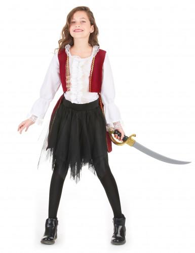 Piratenkostüm mit Tüllrock für Mädchen schwarz-weiss-rot-1