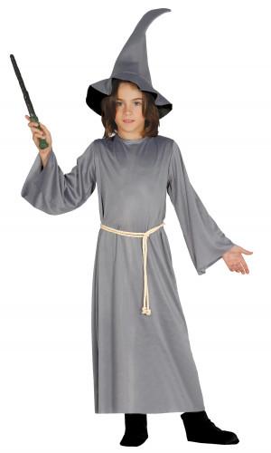 Magier-Kostüm für Kinder Zauberer grau