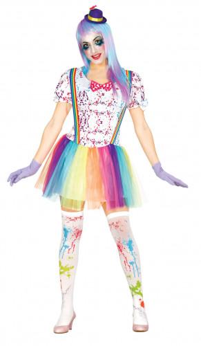 Regenbogen-Clown Kostüm für Damen