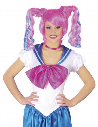 Pink-blaue Manga-Perücke für Damen