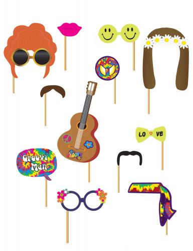 Hippie Foto-Set für Partys 12-teilig