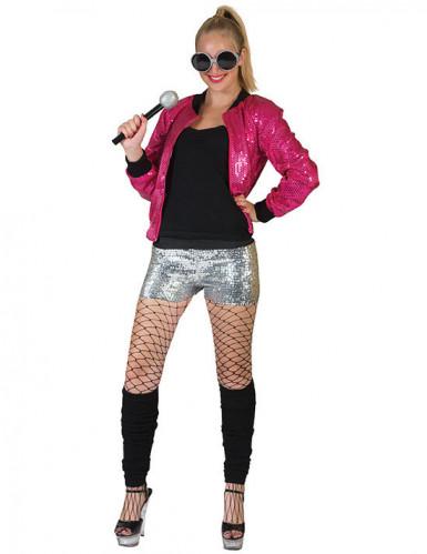 Pailletten-Jacke für Damen pink