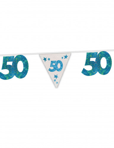 Blaue Wimpelgirlande 50. Geburtstag