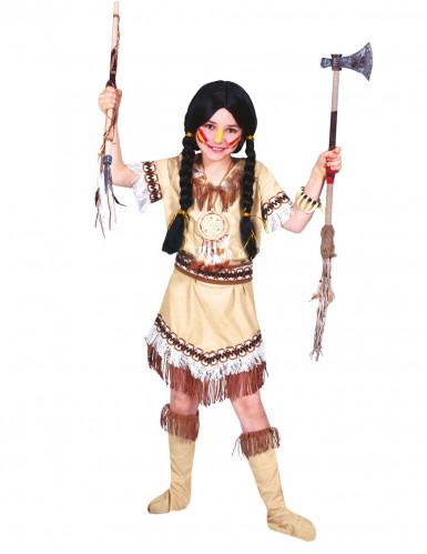 Indianer-Kostüm mit Fransen für Mädchen