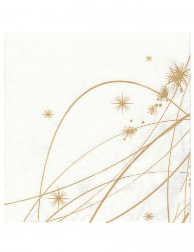 12 Papier-Servietten Punkte und Sterne gold 40 x 40 cm