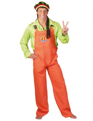 Neon-Latzhose Kostüm für Erwachsene orange