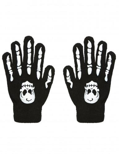 Handschuhe Knochen mit Totenkopf für Erwachsene