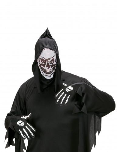 Handschuhe Knochen mit Totenkopf für Erwachsene-1