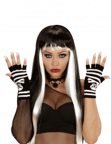 Fingerlose Totenkopf-Handschuhe für Erwachsene-1